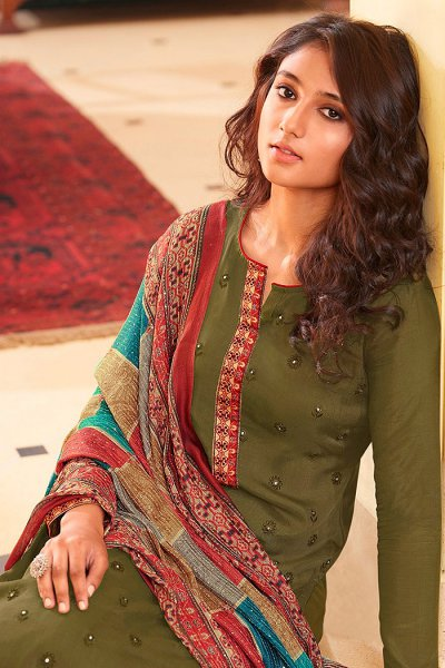 Ready to Wear Olive Green Pure Embroidered Muslin Suit with Pure Silk Embroidered Dupatta
