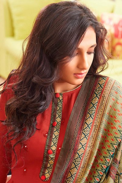 Ready to Wear Brick Red Pure Embroidered Muslin Suit with Pure Silk Embroidered Dupatta
