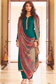 Ready to Wear Teal Green Pure Embroidered Muslin Suit with Pure Silk Embroidered Dupatta