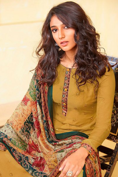 Ready to Wear Mustard Pure Embroidered Muslin Suit with Pure Silk Embroidered Dupatta