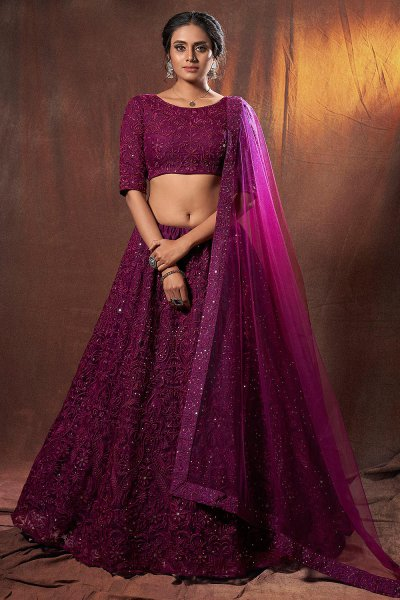 Plum Embroidered Bridal Lehenga Choli in Net