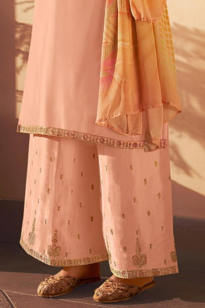 Ready to Wear Peach Pure Silk Zari Embroidered Palazzo Suit