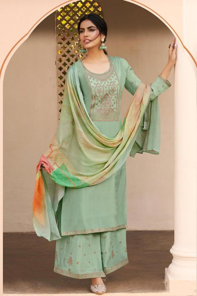 Ready to Wear Mint Green Pure Silk Zari Embroidered Palazzo Suit