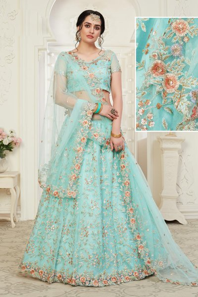 Beautiful Floral Zari Embroidered Indian Lehenga in Net Lined with Silk