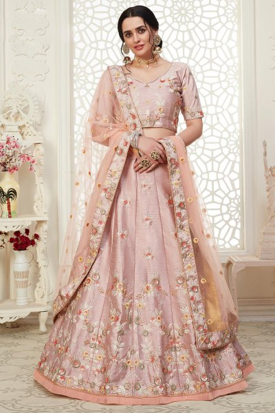 Dusky Pink Intricate Embroidered Lehenga Choli in Silk