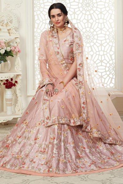 Dusky Pink Intricate Embroidered Lehenga Choli in Silk