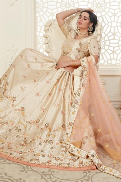 Off White Intricate Embroidered Lehenga Choli in Silk