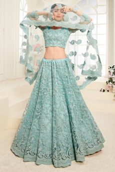 Pastel Blue Net Lehenga Choli with Embroidery