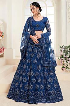Blue Net Lehenga Choli with Embroidery