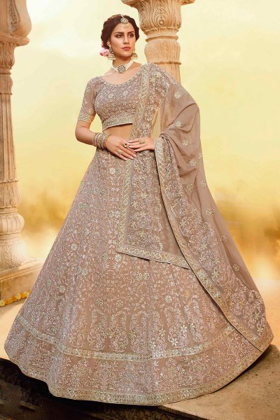 Light Taupe Grey Zari Embroidered Designer Lehenga