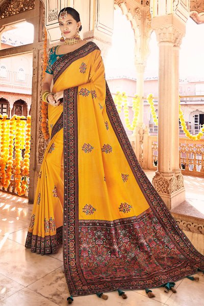 Mustard Silk Saree with Kashmiri Border