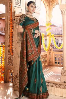 Teal Silk Saree with Kashmiri Border