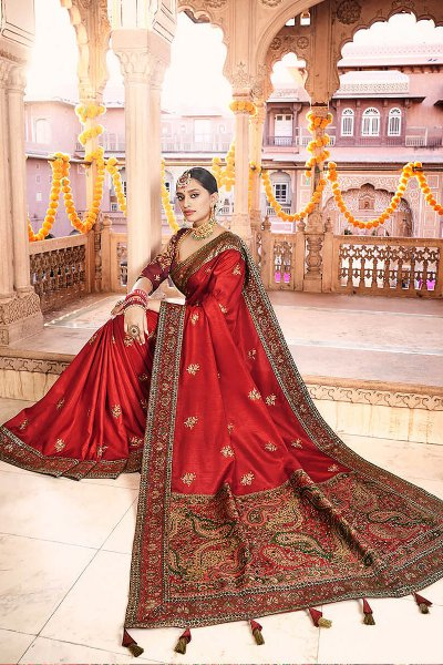 Red Silk Saree with Kashmiri Border