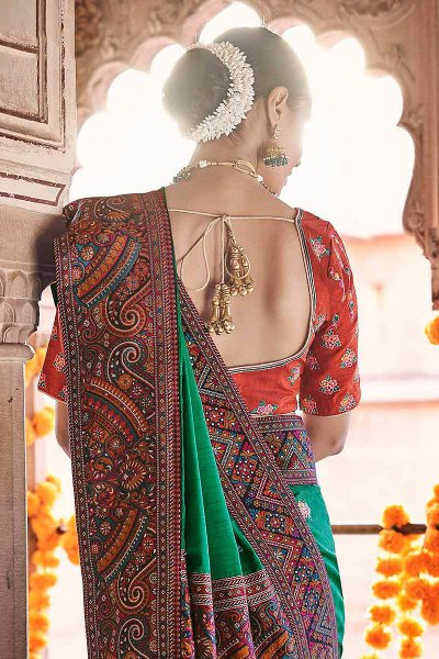 Green Silk Saree with Kashmiri Border
