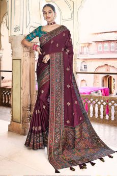 Plum Silk Saree with Kashmiri Border