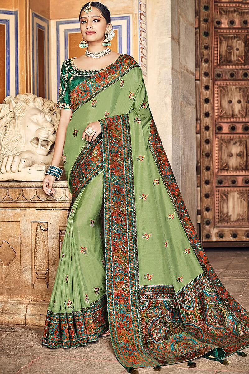 Green Silk Saree with Kashmiri Border