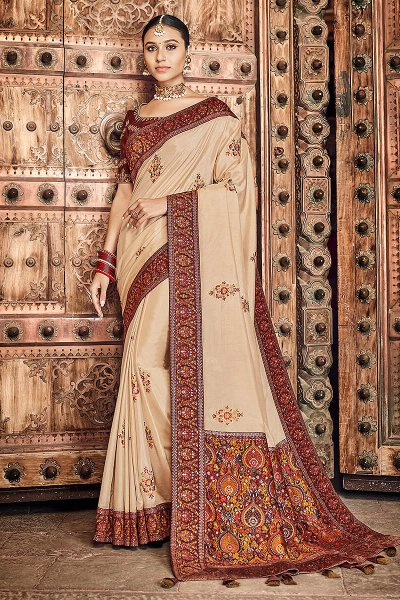 Beige Silk Saree with Kashmiri Border