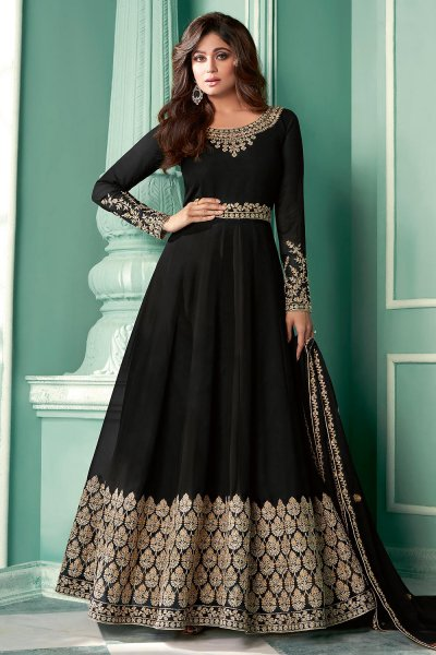 Black Zari Embroidered Anarkali Suit in Georgette