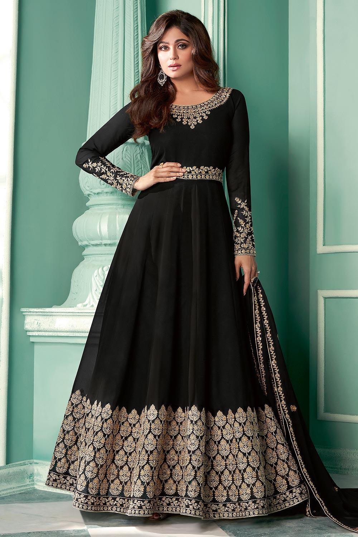 Black Zari Embroidered Anarkali Suit in Georgette