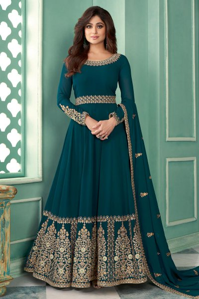 Teal Blue Zari Embroidered Anarkali Suit in Georgette