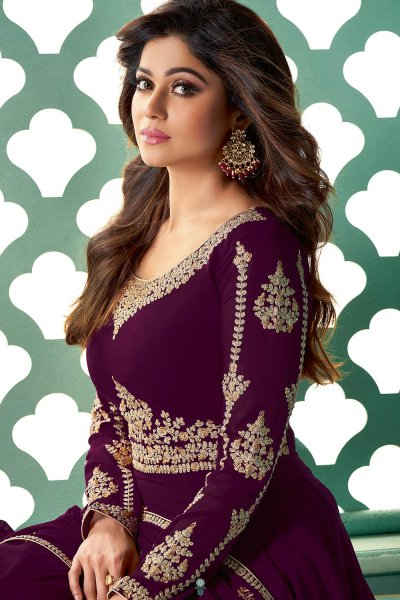 Purple Zari Embroidered Anarkali Suit in Georgette