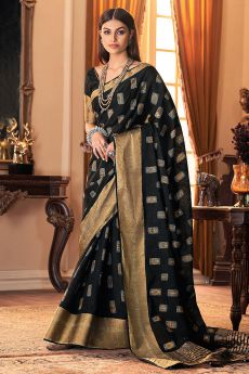 Black Hand Weaved Silk Saree