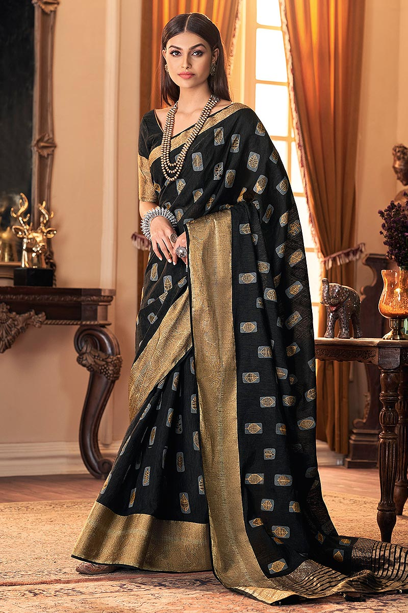 Black Hand Weaved Silk Saree