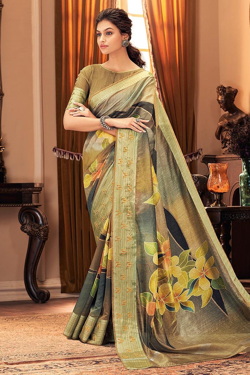 Floral printed Hand Weaved Silk Saree