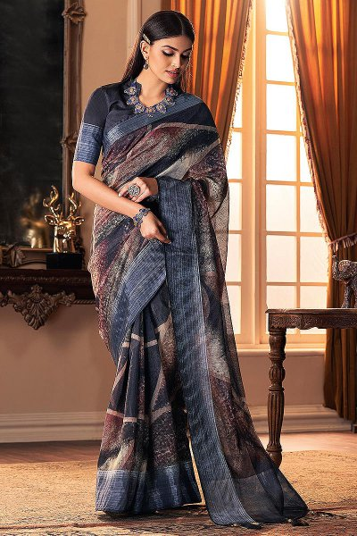 Dark Steel Blue Hand Weaved Silk Saree
