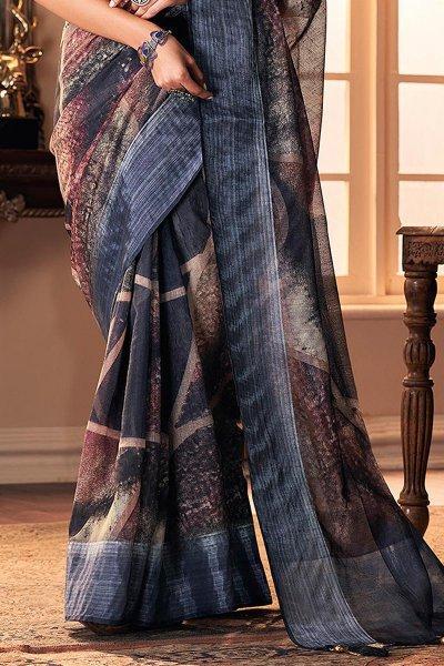 Dark Steel Blue Hand Weaved Silk Saree