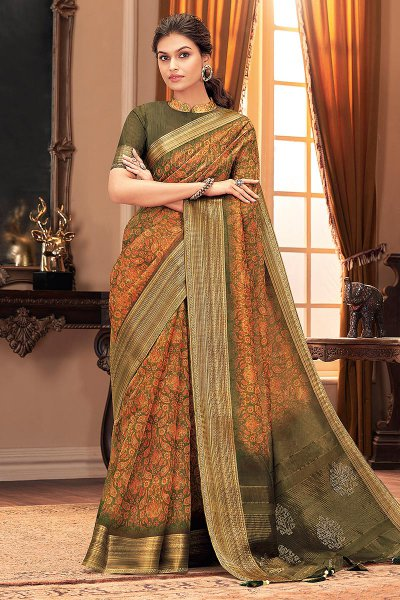 Green and Orange Silk Weaved Saree