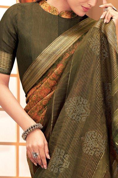 Green and Orange Silk Weaved Saree