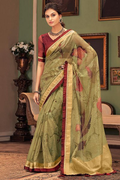 Green and Maroon Silk Saree
