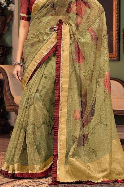 Green and Maroon Silk Saree