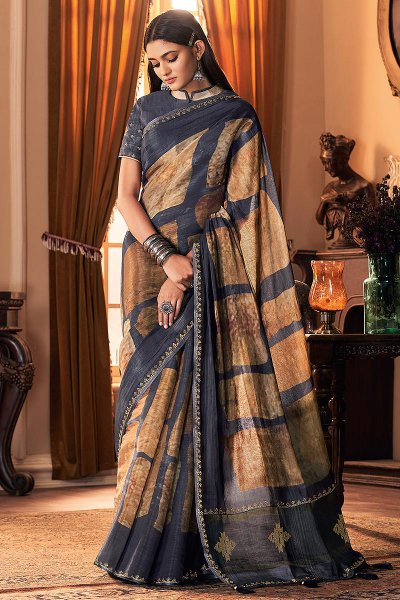 Dark Grey Soft Silk Saree
