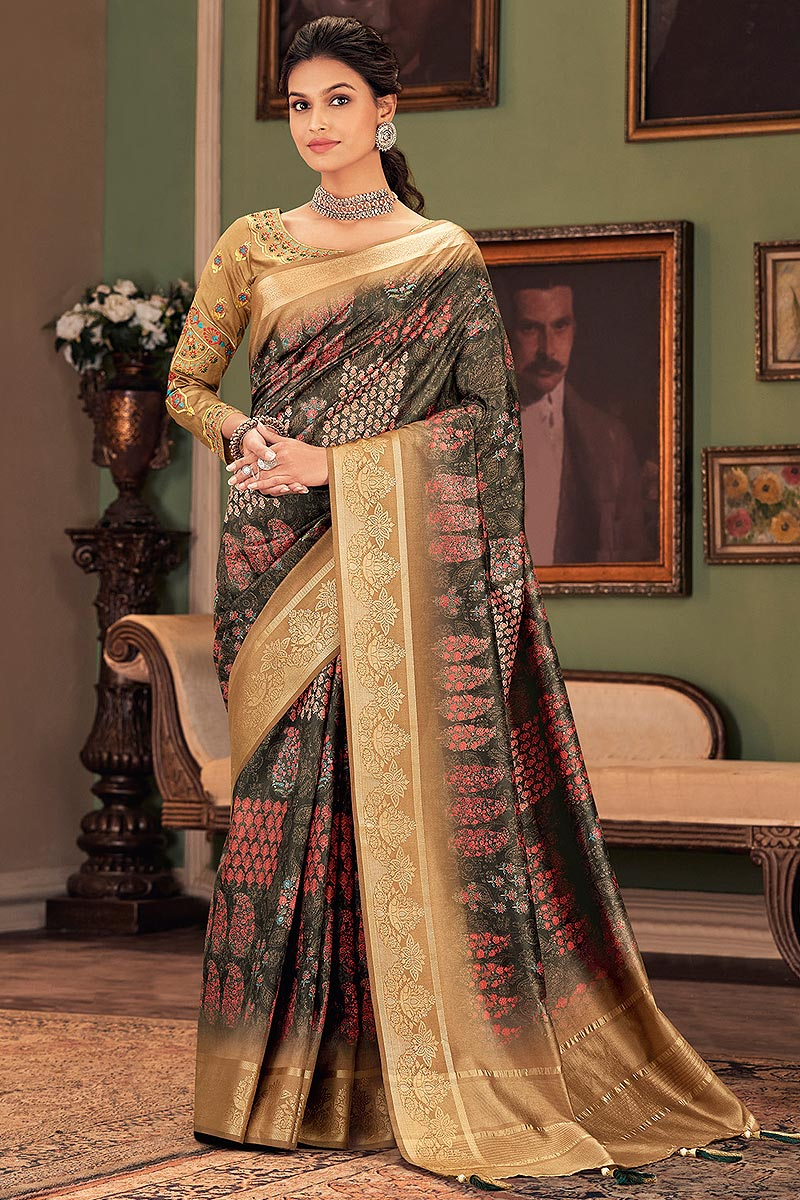 Designer Printed Silk Saree with Embroidered Blouse