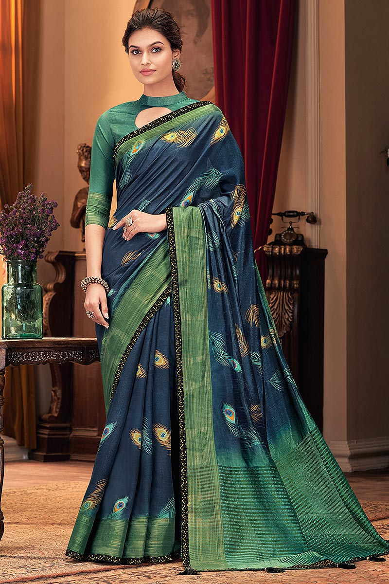 Peacock Blue Silk Weaved Saree