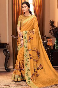 Orange Hand Weaved Silk Saree