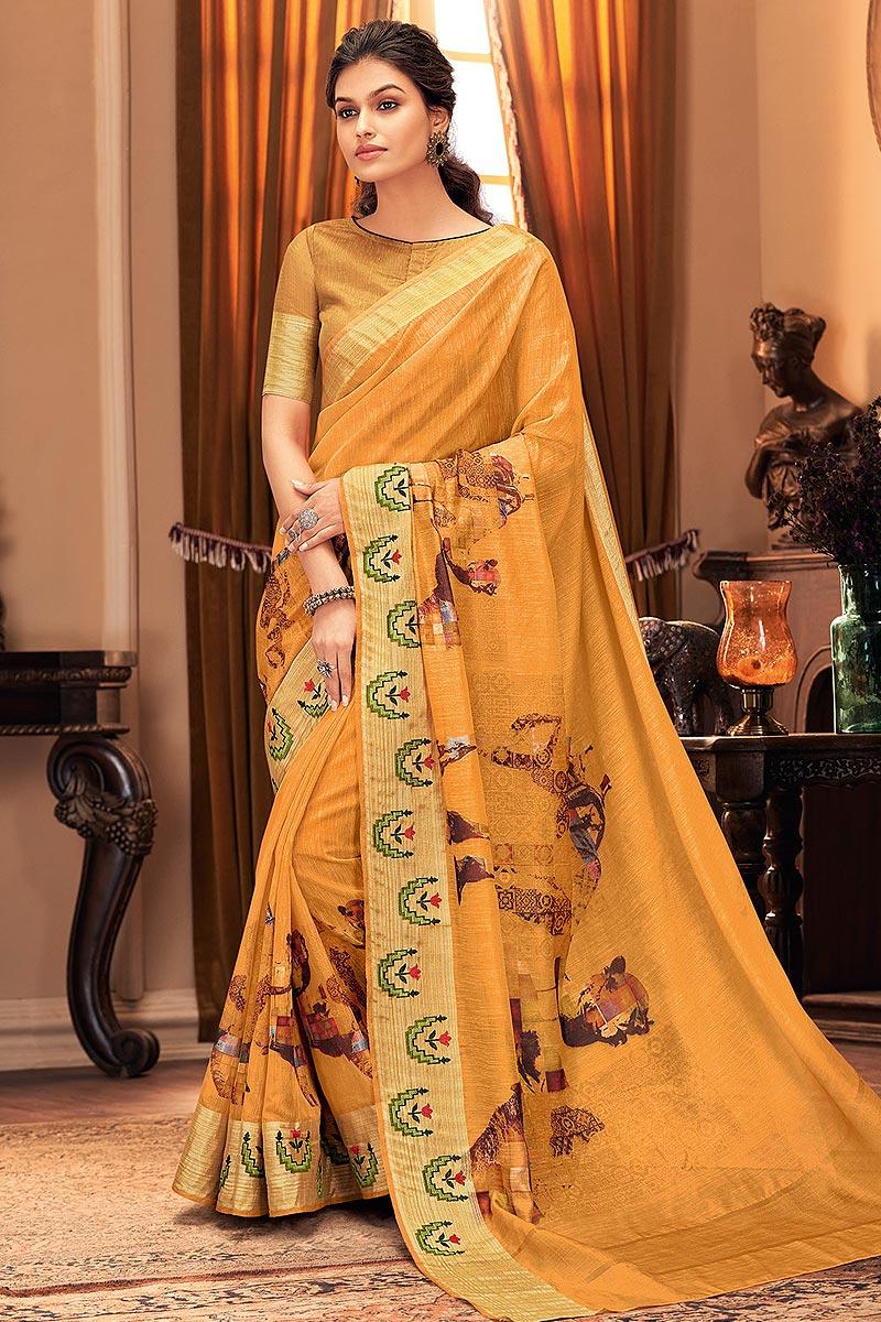 Orange Hand Weaved Silk Saree
