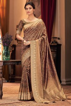 Coffee Brown Silk Weaved Saree