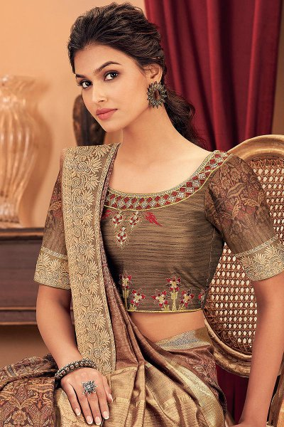 Coffee Brown Silk Weaved Saree