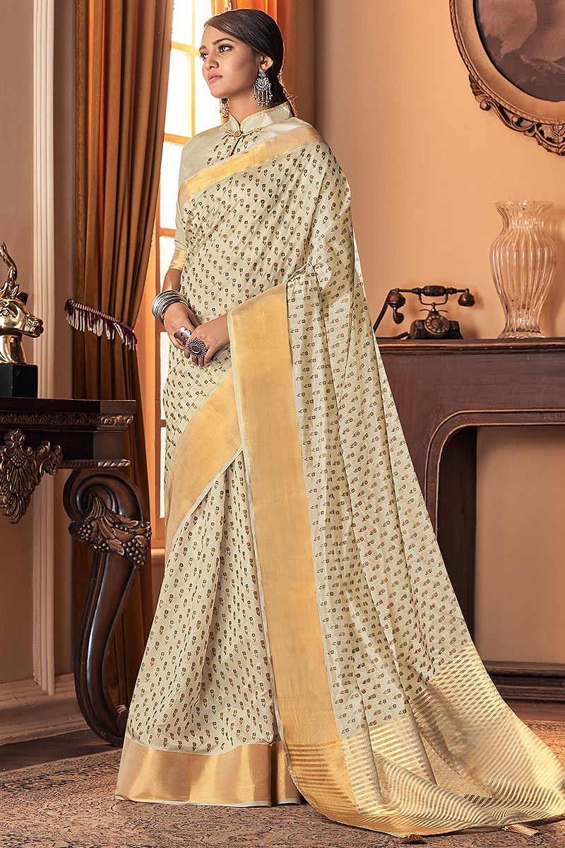 Off White Silk Weaved Saree