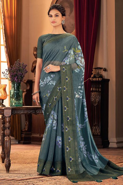 Smokey Blue Floral Printed Silk Saree