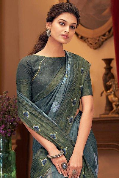 Smokey Blue Floral Printed Silk Saree