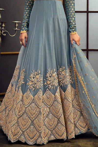 Zari Embroidered Anarkali in Net