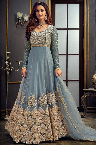 Zari Embroidered Anarkali in Net