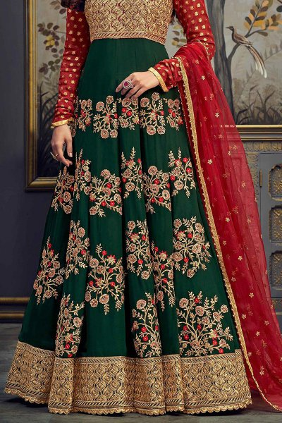 Bottle Green Georgette Anarkali Suit