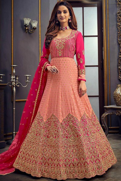 Peach Jacquard Anarkali Suit with Zari Embroidery