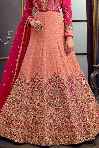 Peach Jacquard Anarkali Suit with Zari Embroidery