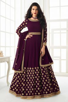 Plum Zari Embroidered Anarkali